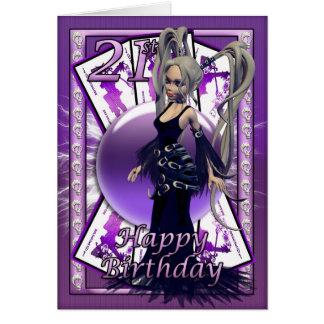 Boneca gótico do cartão de aniversário de 21 anos,