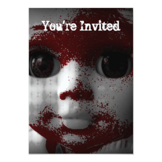 Boneca inoperante viva macabramente convite personalizado