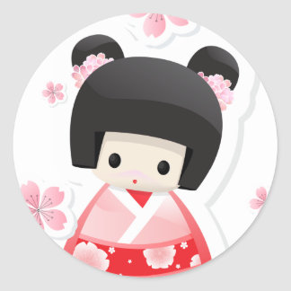 Boneca japonesa da gueixa - série dos bolos adesivo