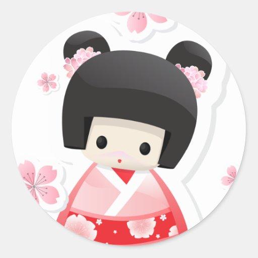 Boneca japonesa da gueixa - série dos bolos adesivos redondos