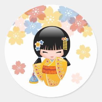 Boneca japonesa de Kokeshi do verão Adesivo