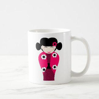 Boneca Kokeshi sorrindo personalizável Caneca De Café