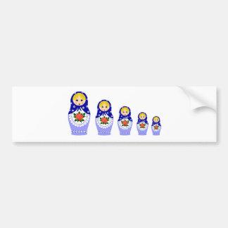 Bonecas de Matryoschka azuis Adesivo Para Carro
