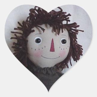 Bonecas de pano do amor adesivo coração