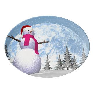 Boneco de neve - 3D rendem Travessa De Porcelana