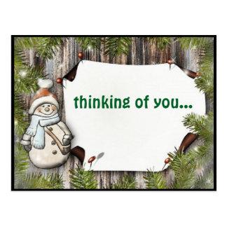 Boneco de neve adorável que pensa de você cartão
