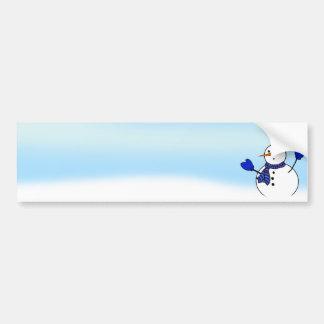 Boneco de neve bonito com mitenes azuis adesivo