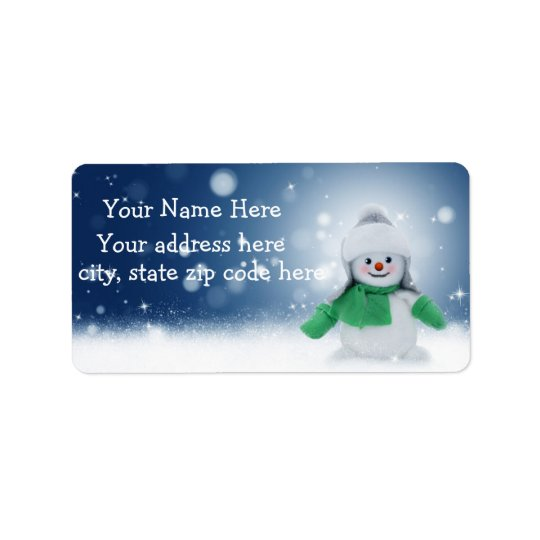 Boneco de neve bonito etiquetas de endereço etiqueta de endereço