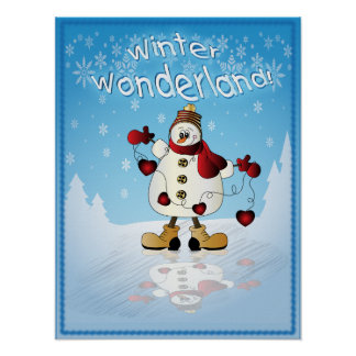 Boneco de neve com corações vermelhos do Natal Poster
