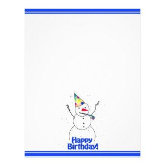 Boneco de neve da festa de aniversário modelos de papel de carta
