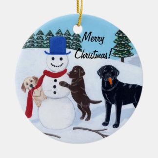 Boneco de neve da pintura de Labrador do Natal Enfeites