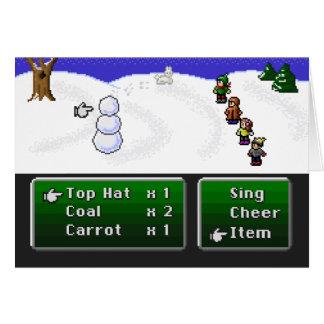 boneco de neve de 16 bits do RPG Cartão Comemorativo
