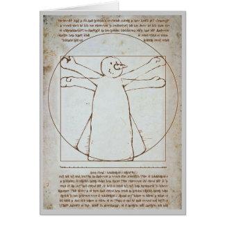 Boneco de neve de Vitruvian Cartão