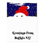 Boneco de neve do búfalo cartão postal