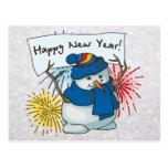 boneco de neve do feliz ano novo cartoes postais