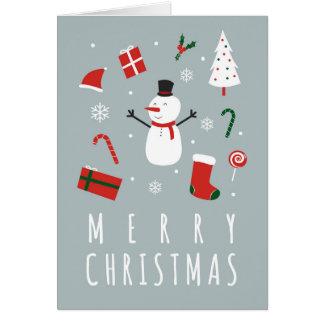 Boneco de neve do Feliz Natal Cartão Comemorativo