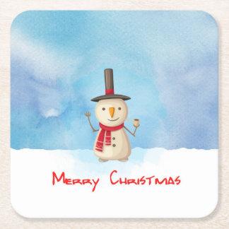 Boneco de neve do Feliz Natal que acena e que Porta-copo De Papel Quadrado