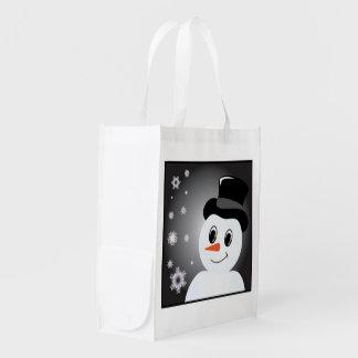 Boneco de neve do fosco sacolas ecológicas