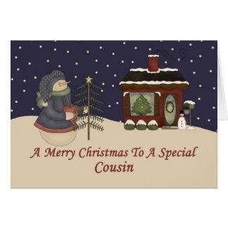 Boneco de neve do Natal a um primo especial Cartão Comemorativo
