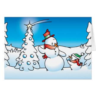 boneco de neve do Natal Cartão Comemorativo