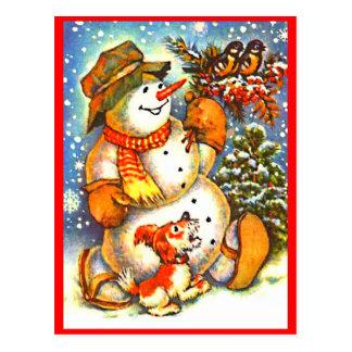 Boneco de neve do Natal, cartão vermelho das bagas