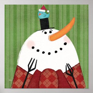 Boneco de neve do Natal com pássaro do canto Impressão