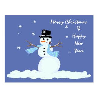Boneco de neve do Natal da família Cartão Postal