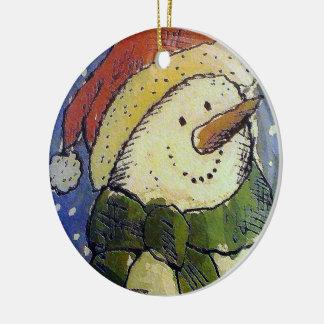 Boneco de neve do Natal Ornamento De Cerâmica Redondo
