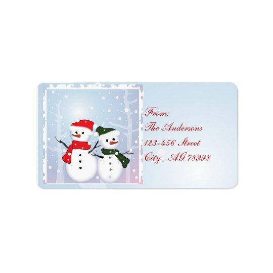 Boneco de neve do país das maravilhas do inverno etiqueta de endereço