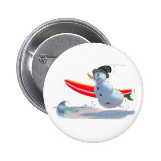 boneco de neve do surfista bóton redondo 5.08cm