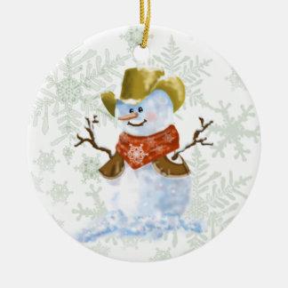 Boneco de neve do vaqueiro ornamento de cerâmica redondo