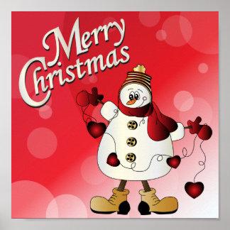 Boneco de neve do vermelho do Feliz Natal Impressão