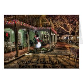 Boneco de neve do vintage no Natal personalizado Cartão Comemorativo