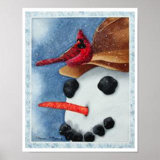 Boneco de neve e cardeal felizes - pôster