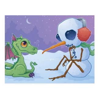 Boneco de neve e cartão do dragão