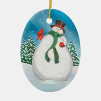 Boneco de neve em enfeites de natal do Oval da