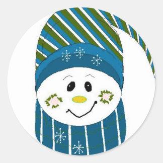 Boneco de neve em Toque listrado Adesivos Em Formato Redondos