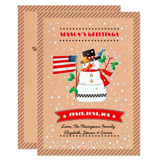 Boneco de neve engraçado com bandeira dos E.U. Convite 12.7 X 17.78cm