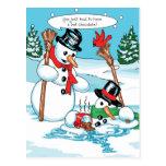 Boneco de neve engraçado com desenhos animados do  cartao postal