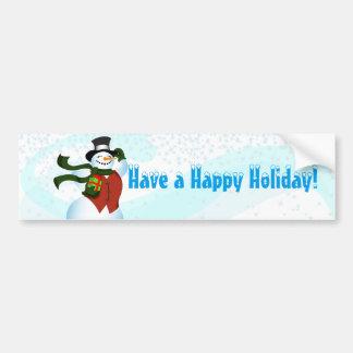 Boneco de neve feliz do feriado adesivo para carro