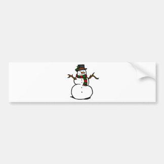 Boneco de neve feliz no chapéu alto e no lenço adesivo