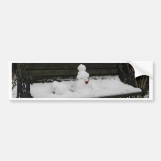 Boneco de neve no banco adesivos