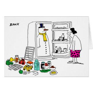Boneco de neve no cartão do Xmas do refrigerador