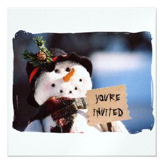 Boneco de neve pequeno com sinal customizável convites