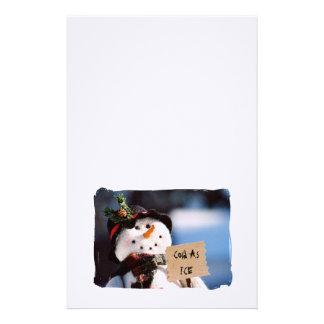 Boneco de neve pequeno com sinal customizável papel personalizados