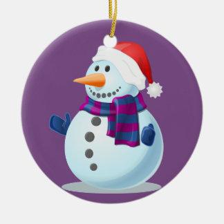 Boneco de neve pequeno feliz no fundo roxo ornamento de cerâmica redondo