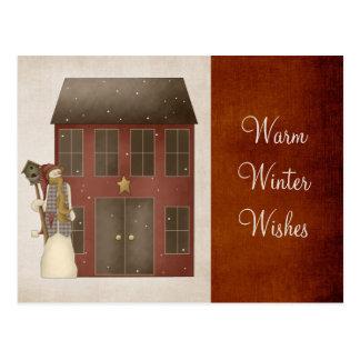 Boneco de neve Prim do país & design da casa de Cartão Postal