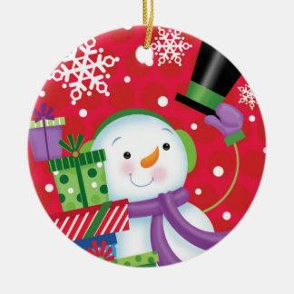 Boneco de neve que derruba seu ornamento do chapéu