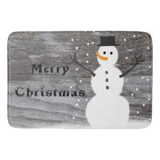 Boneco de neve rústico do Feliz Natal do tapete de