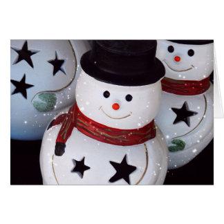 Bonecos de neve alegres cartão comemorativo